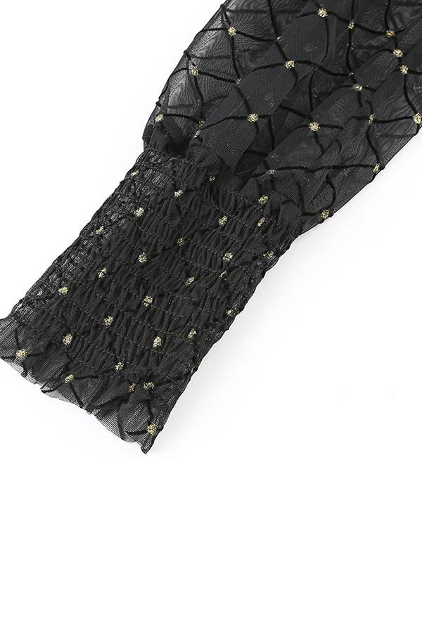 Lovely Trendy Turtleneck Print Black Blouse