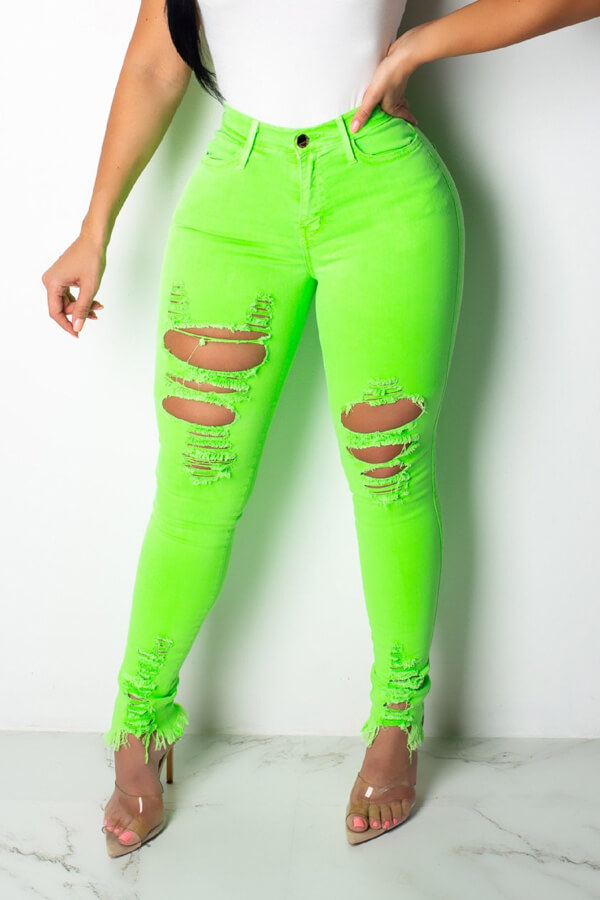 Lovely Trendy Broken Holes Green Jeans