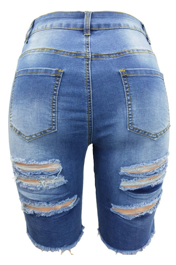 Lovely Chic Hollow-out Blue Shorts