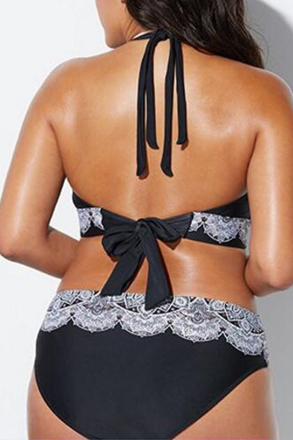 Lovely Print Black Plus Size Two-piece Swimsuit