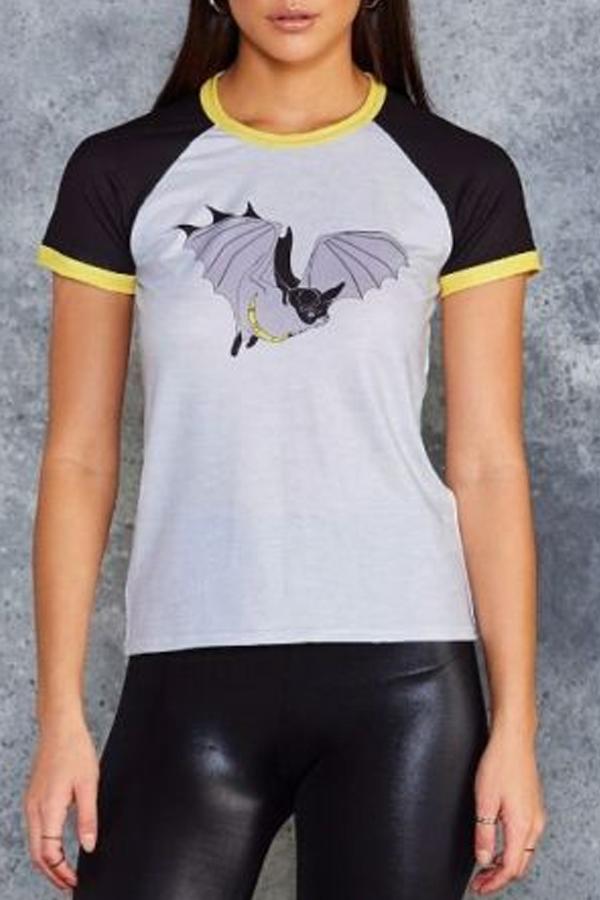 Lovely Leisure Basic Print Black T-shirt