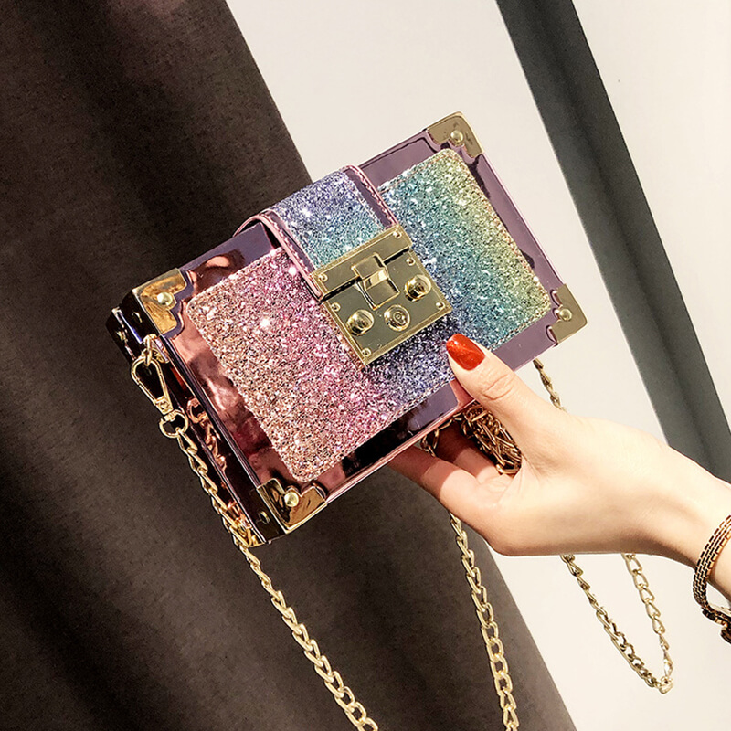 Lovely Chic Patchwork Gold Crossbody Bag