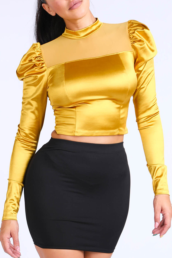 lovelywholesale / Cheap Blouses&Shirts Lovely Leisure Basic Gold Yellow Blouse