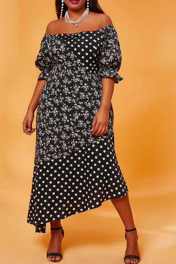 Lovely Casual U Neck Asymmetrical Print Black Mid Calf Plus Size Dress