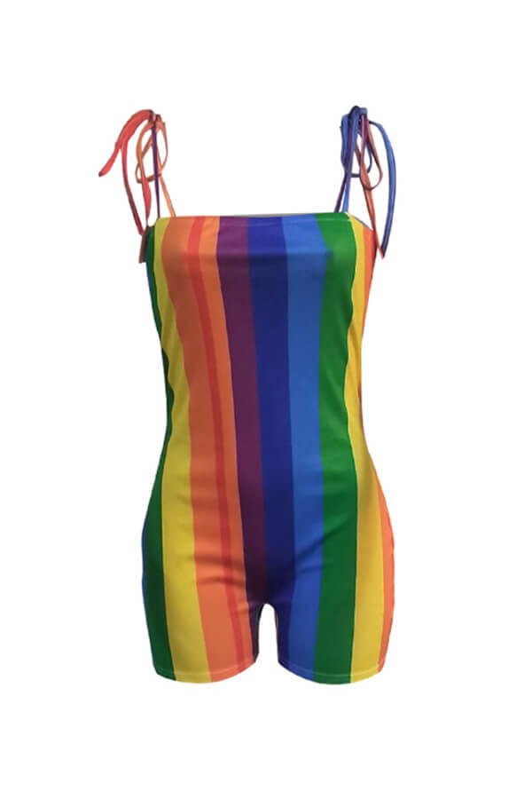 Lovely Chic Rainbow Striped Multicolor One-piece Romper