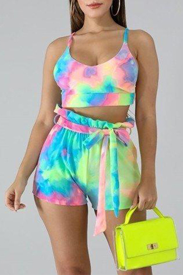 Lovely Stylish Print Multicolor Two-piece Shorts Set