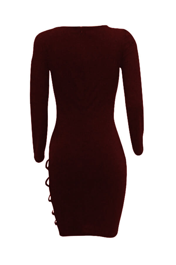 Lovely Sexy Hollow-out Wine Red Knee Length Dress