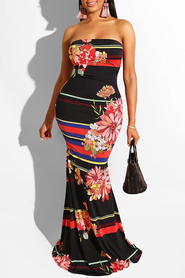 Lovely Leisure Dew Shoulder Print Black Maxi Dress