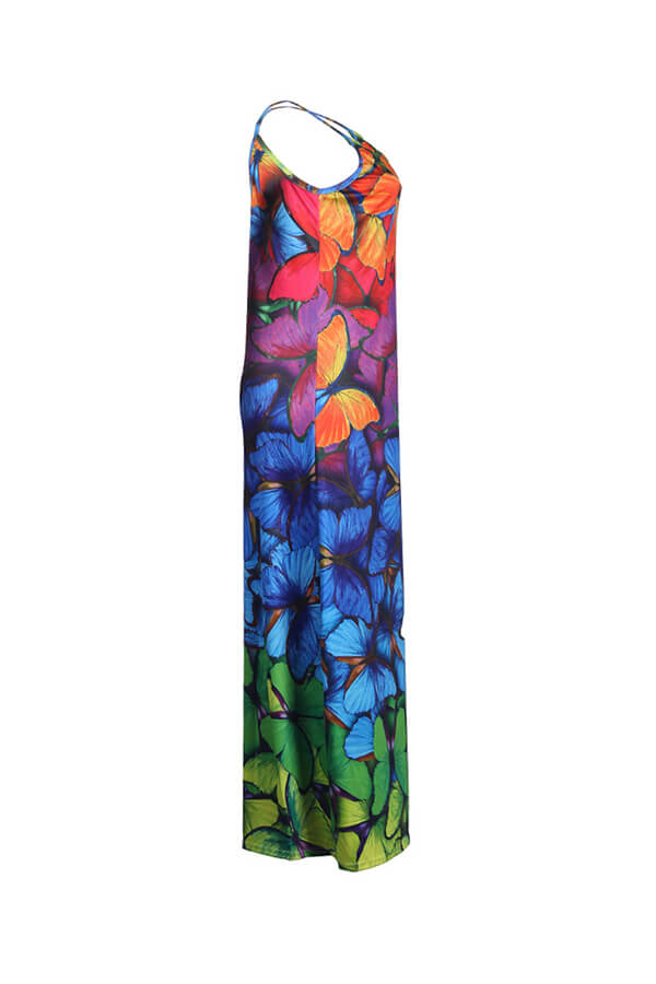 Lovely Leisure Print Loose Multicolor Maxi Dress