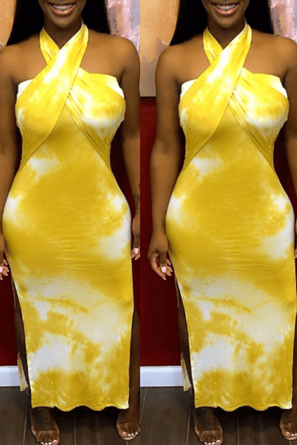 Lovely Chic Print Yellow Mid Calf Dress