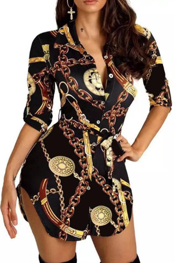 Lovely Casual Turndown Collar Print Black Mini Dress