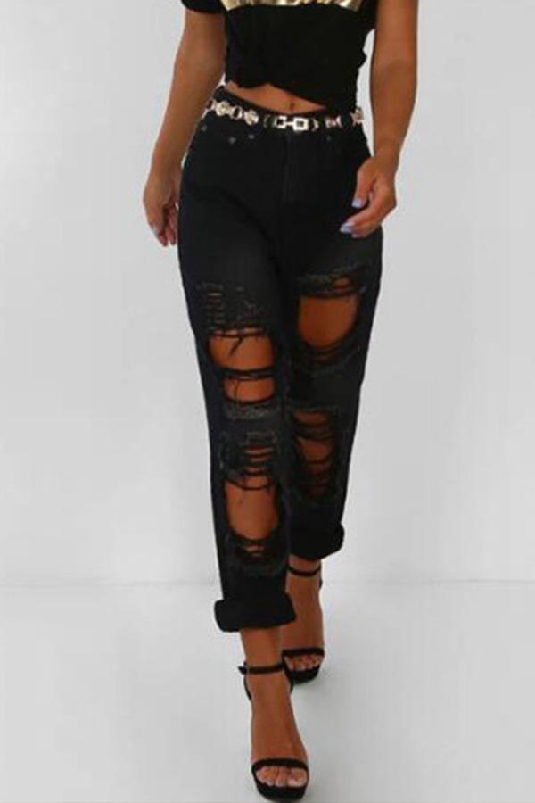 Lovely Casual Broken Hole Black Jeans