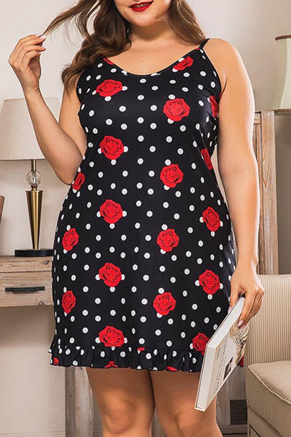 Lovely Casual Print Black Plus Size Mini Dress