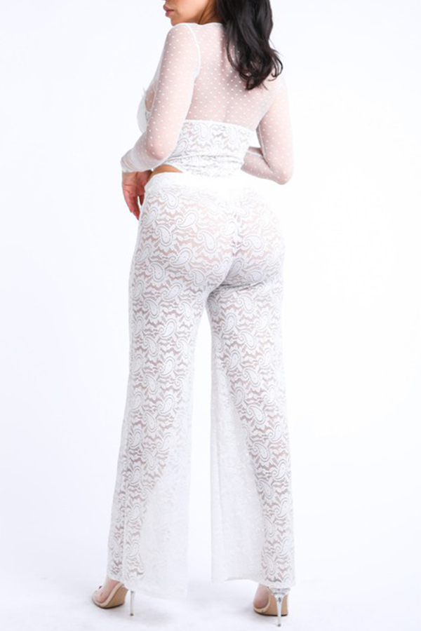 Lovely Chic Lace White Two-piece Pants Set