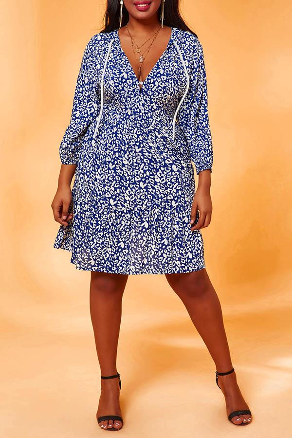 Lovely Chic Print Drawstring Blue Knee Length Plus Size Dress