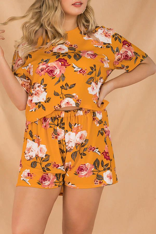 Lovely Bohemian Print Yellow Plus Size One-piece Romper