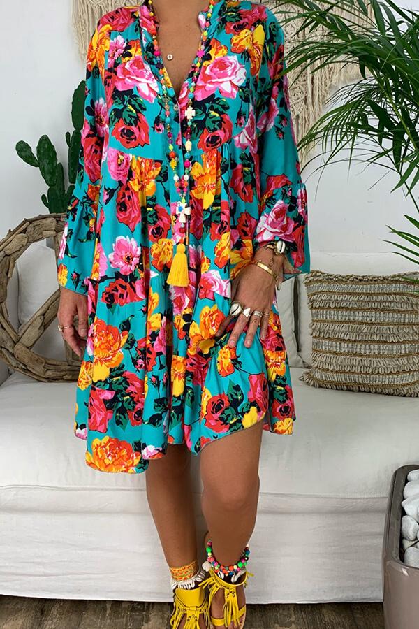 lovelywholesale / Lovely Bohemian Print Blue Knee Length Dress
