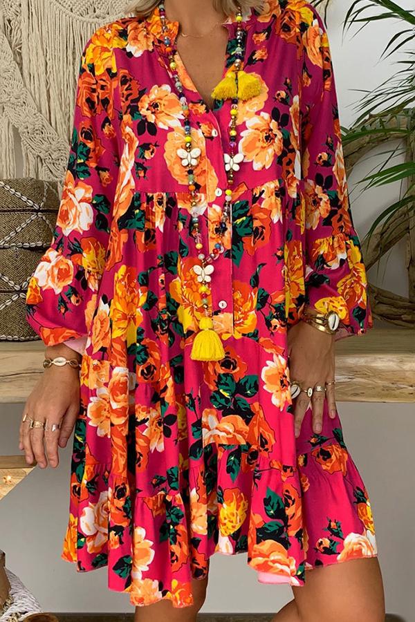 lovelywholesale / Lovely Bohemian Print Red Knee Length Dress