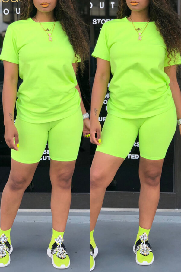 Lovely Casual Basic Green Two-piece Shorts Set фото