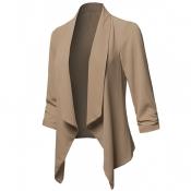 Lovely Casual Lapel Khaki Plus Size Blazer