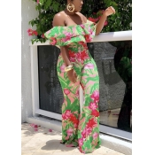 Lovely Trendy Floral Print Flounce Green One-piece