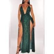 Lovely Sexy Deep V Neck Sleeveless Green Maxi Dres