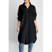 Lovely Casual Long Button Design Black Blouse