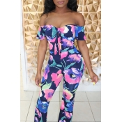 Lovely Trendy Print Blue One-piece Jumpsuit