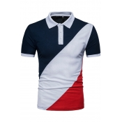 Lovely Casual Patchwork Navy Blue POLO Shirt