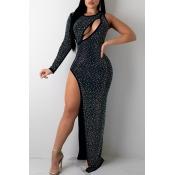 Lovely Sexy One Shoulder Slit Black Maxi Dress