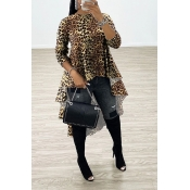 Lovely Chic Asymmetrical Leopard Print Blouse