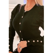 Lovely Chic Button Design Black Blouse