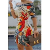 Lovely Chic Striped Print Multicolor Mini Dress