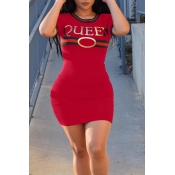 Lovely Casual Letter Print Red Mini Dress