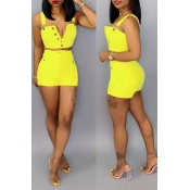 Lovely Casual Button Design Yellow Two-piece Short