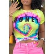 Lovely Chic Letter Print Yellow T-shirt