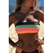 Lovely Striped Black Two-piece Swimsuit