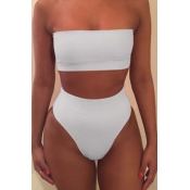 Lovely Dew Shoulder White Two-piece Swimsuit