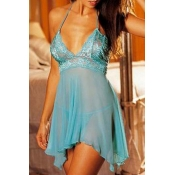 Lovely Sexy See-through Baby Blue Babydolls