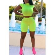 Lovely Casual Skinny Green Two-piece Shorts Set
