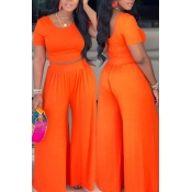 Lovely Casual O Neck Orange Two-piece Pants Set