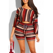 Lovely Casual Striped Print Multicolor Two-piece S