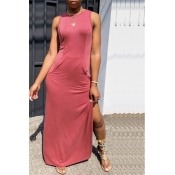 Lovely Casual O Neck Side Slit Pink Floor Length D