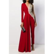 Lovely Trendy Patchwork Red Jumpsuit