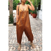 Lovely Sexy Striped Brown Jumpsuit