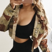 Lovely Trendy Camouflage Print Jacket