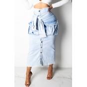 Lovely Casual Buttons Design Blue Skirt