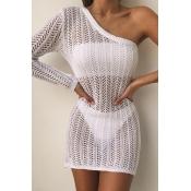Lovely One Shoulder White Beach Dress