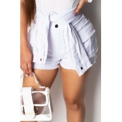Lovely Chic Buttons Design White Shorts