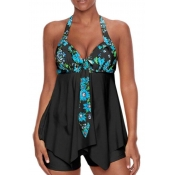 Lovely Casual Print Black Plus Size Two-piece Swim